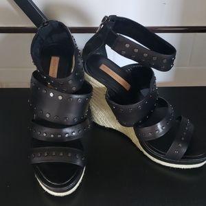 BCBG Max Azria  Black leather wedge sandals 9